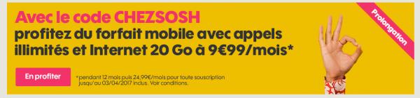 Sosh : le forfait 20 Go à 9,99€ avec le code promo CHEZSOSH se prolonge !