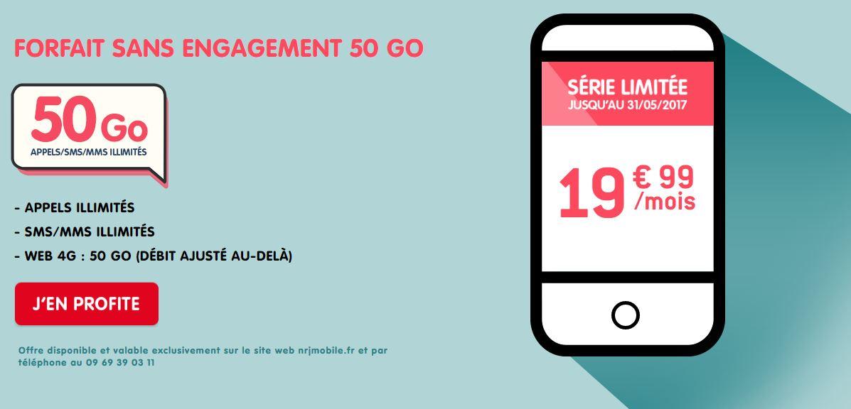 Forfait NRJ Mobile WOOT 50Go 19.99 euros