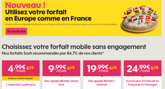 Les nouvelles offres Sosh sont désormais utilisables en Europe comme en France
