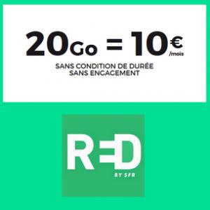 L'offre 20 Go au lieu de 1 Go de RED by SFR est à 10 €/mois