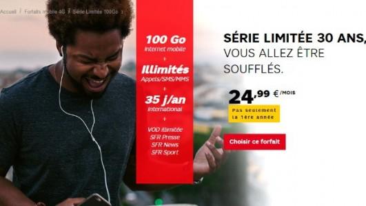 Les séries limitées 30 ans de SFR sont à 24.99 €/mois
