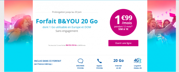 B&YOU : l'offre 20Go à 1,99€/mois avec la carte SIM à 1€ au lieu de 15€ se termine aujourd'hui !