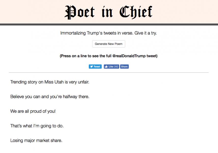poet in chief trump 857x600 - Un site transpose les tweets de Trump en poèmes