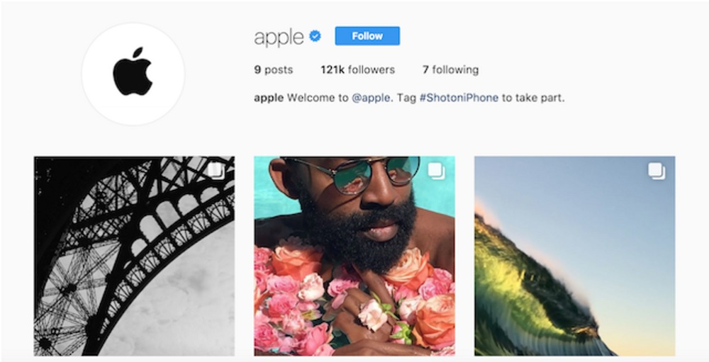 Apple compte officiel Instagram