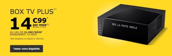 La Box TV Plus de La Poste Mobile est à 14,99 euros par mois pendant un an