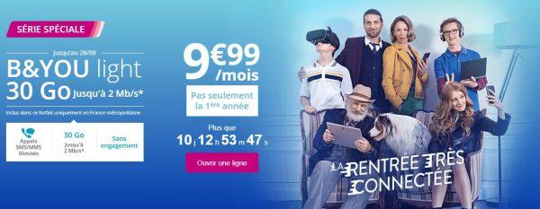 B&You lance la série spéciale Light 30Go à 9.99 euros par mois avec un débit jusqu'à 2 Mb/s