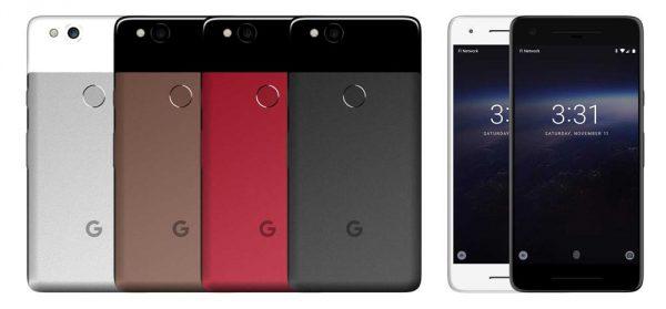 Google Pixel 2 rendus couleurs