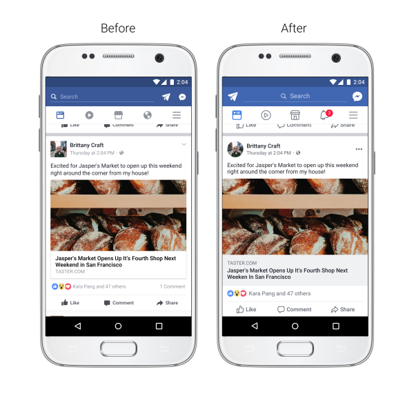 Nouveau design application mobile Facebook