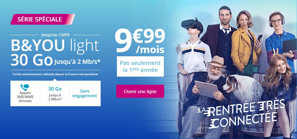 Le forfait B&You Light 30 Go à 9.99 euros par mois est prolongé !