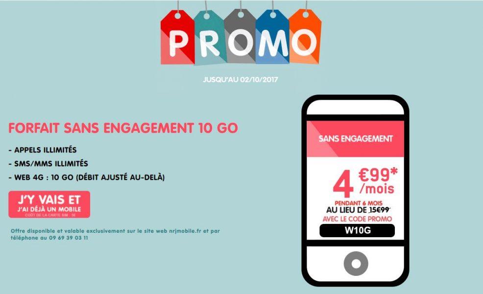 NRJ Mobile forfait 10Go promo