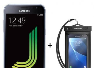 Samsung Galaxy J3 2016 + poche waterproof