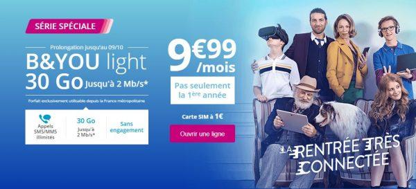 [BON PLAN] Le forfait B&You Light 30Go à moins de 10 euros est désormais disponible jusqu'au 9 octobre 2017 inclus !