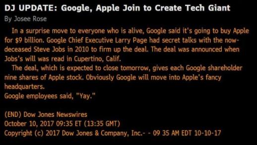 Google ne s'offre pas Apple — Bug dans l'info