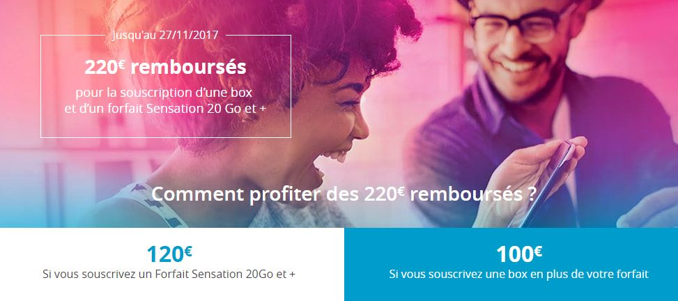 Bouygues Telecom rembourse 220 euros forfait Sensation 20 Go et + box
