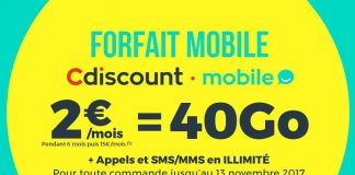 Cdiscount forfait 40 Go 2 euros
