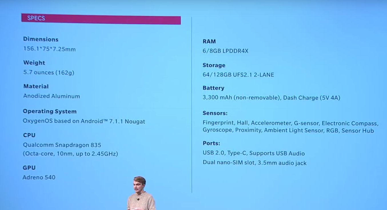 OnePlus 5T fiche technique
