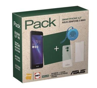Pack Fnac Asus ZenFone 3 Max 32 Go Noir + Enceinte + Coque + Protection en verre trempé