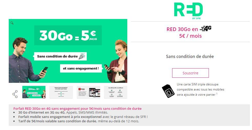 bon plan le forfait red 30 go passe 5 euros au lieu de 10 euros sur showroomprive. Black Bedroom Furniture Sets. Home Design Ideas