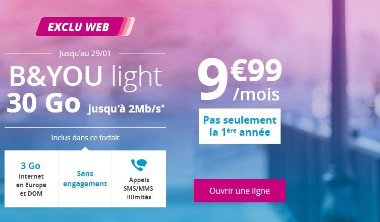 Forfait B&You light 30 Go abonnement sans engagement