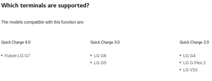 LG G7 Quick Charge 4.0