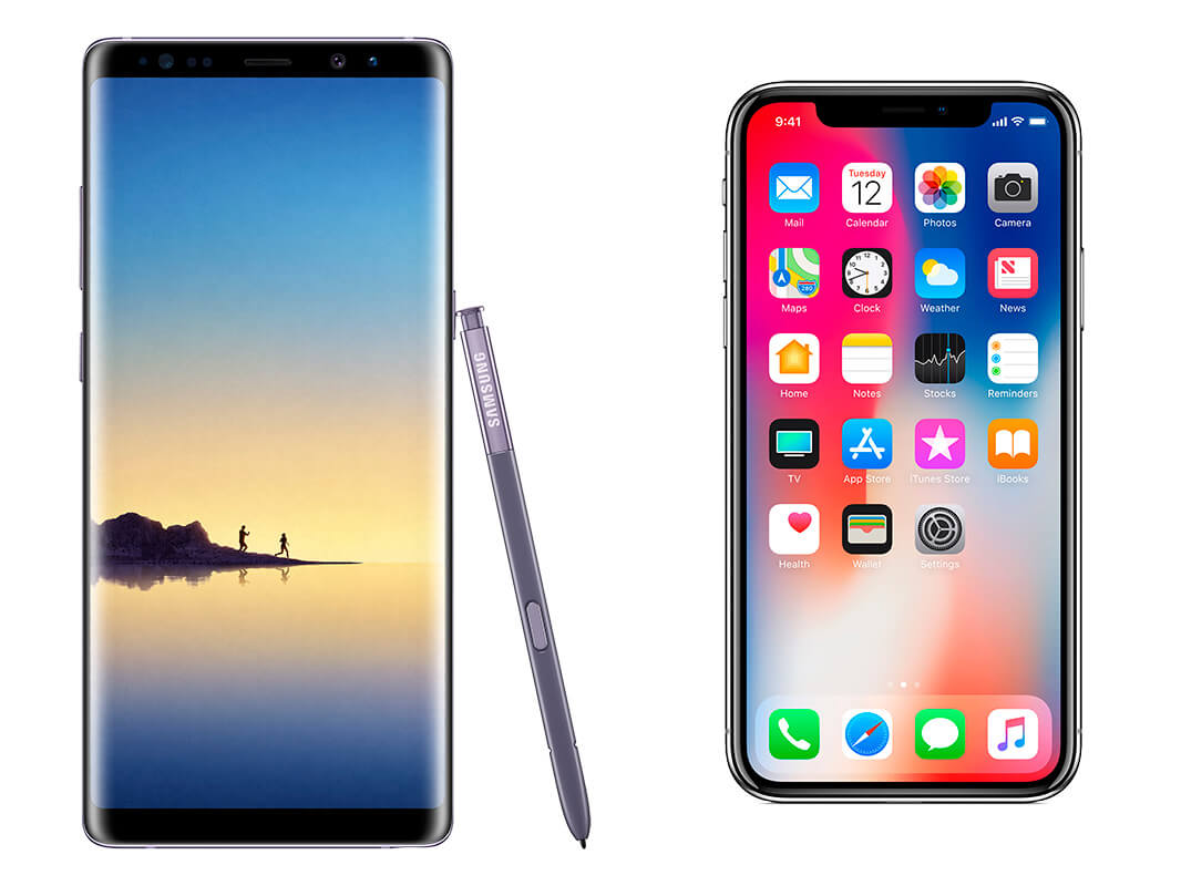pantalla iphone x vs note 8