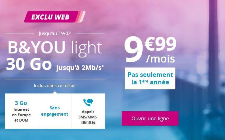 B&You relance le forfait Light 30 Go à 9.99 euros à vie !