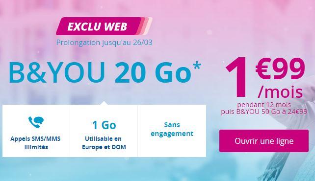 Le forfait 20 Go B&You à 1.99 euros est prolongé jusqu'au 26 mars !