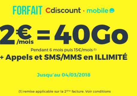 Cdiscount Mobile 40 Go 2 euros