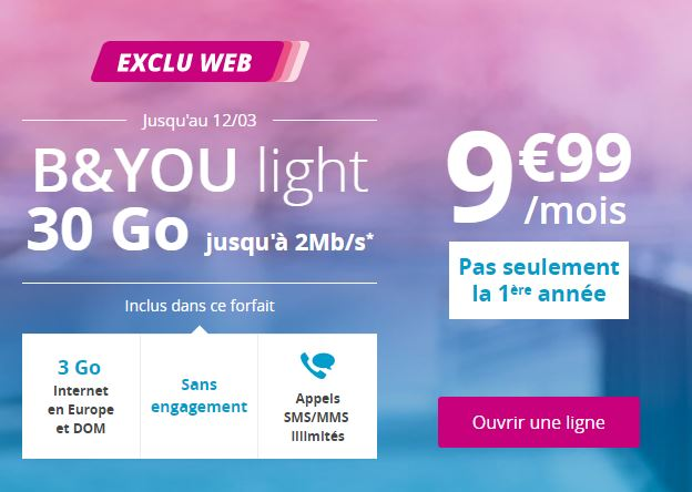 Le forfait B&You light 30 Go à 9.99 euros revient encore !
