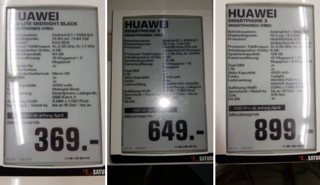 Huawei P20 Lite, P20 et P20 Pro