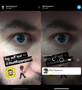 Snapchat : il est possible de taguer un ami dans sa story