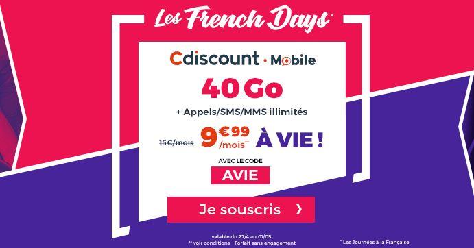 French Days : Cdiscount Mobile propose son forfait 40 Go à 9.99 euros à vie !