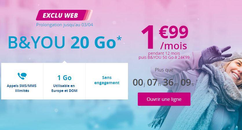 Forfait B&YOU 20 Go à 1.99 euro : fin de l'offre ce soir