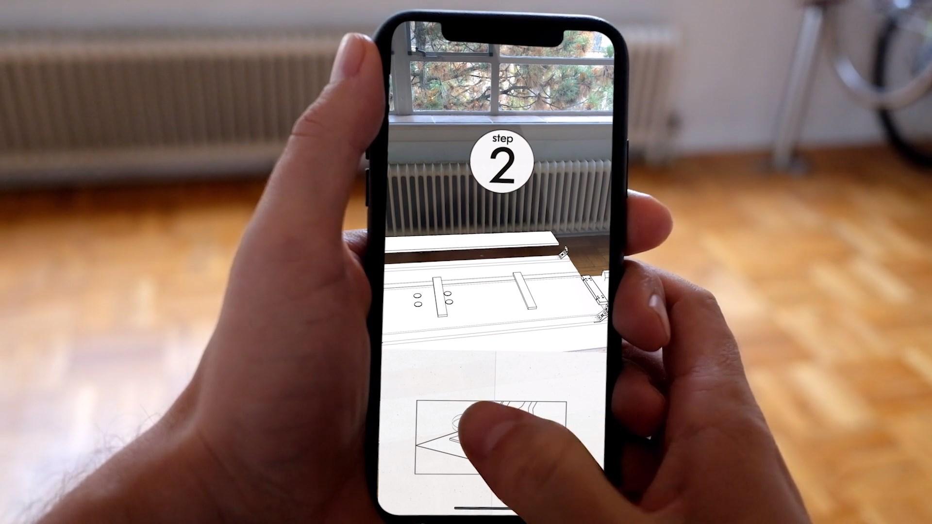 r alit augment e un concept pour monter virtuellement un meuble sur un iphone x. Black Bedroom Furniture Sets. Home Design Ideas