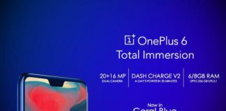 OnePlus 6 Coral Blue