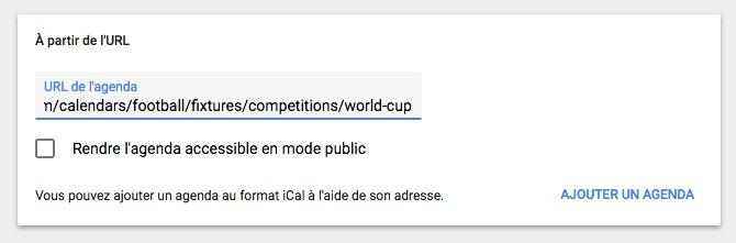 Agenda coupe du monde 02 - Planifiez votre Coupe du monde de football avec Google Agenda
