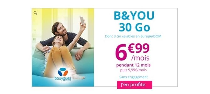 Showroomprivé : forfait B&YOU 30 Go à 6.99 euros prolongé !