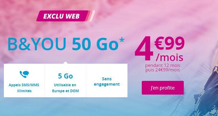 Forfait B&YOU 50 Go à 4.99 euros — Bouygues Telecom