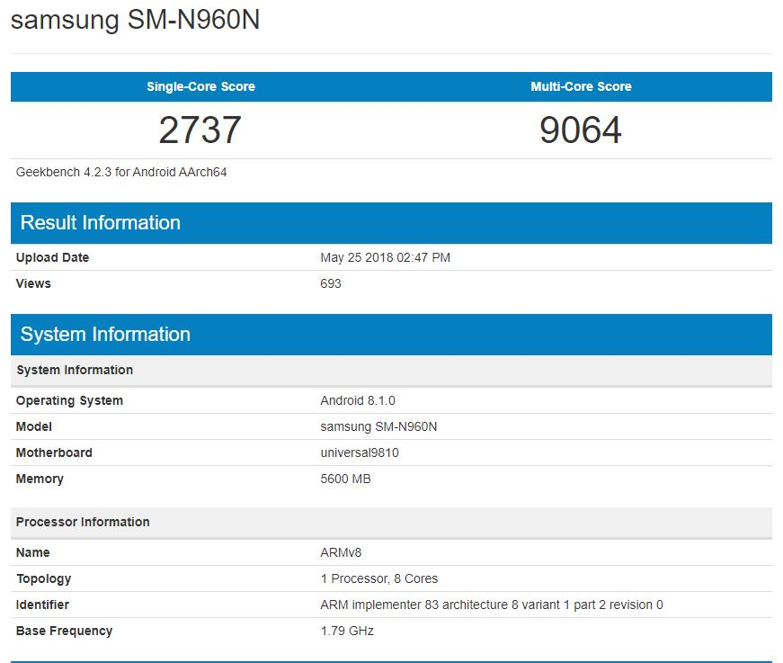Samsung Galaxy Note 9 Geekbench