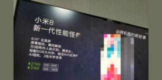 Xiaomi Mi 8 - son prix fuite sur Weibo
