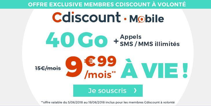 Bon plan : forfait Cdiscount Mobile 40 Go à 9.99 euros !