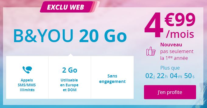 Forfait B&YOU 20 Go à 4.99 euros prolongé jusqu'au 21 juin !