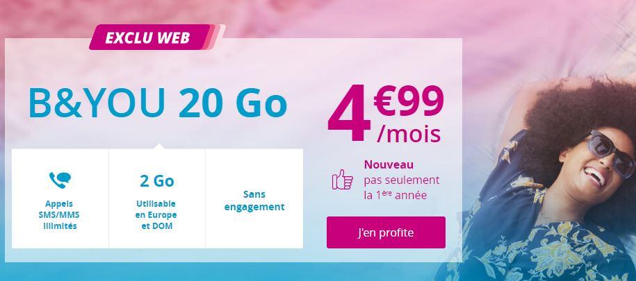 Bon plan : forfait B&YOU 20 Go à 4.99 euros prolongé !