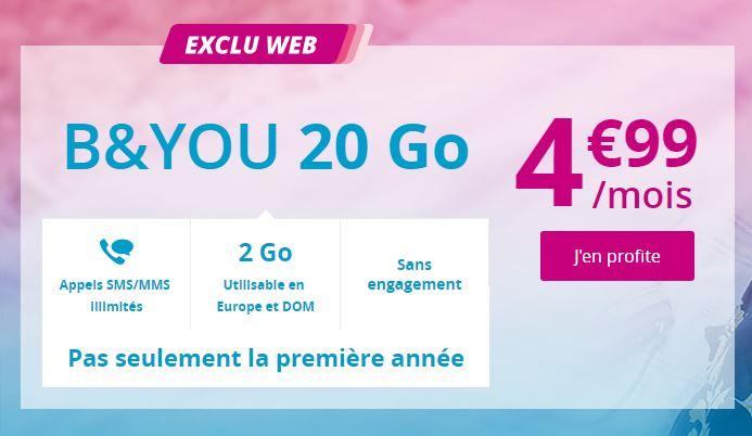 Le forfait B&YOU 20 Go de Bouygues Telecom passe à 4.99 euros au lieu de 19.99 euros