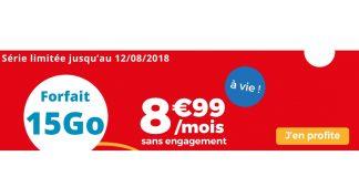 Forfait Auchan Telecom 15 Go à 8.99 euros