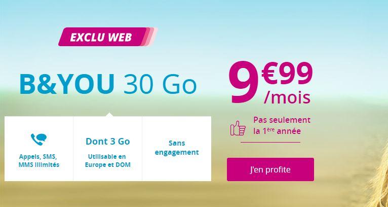 Bon plan : le retour du forfait B&YOU Light 30 Go à 9.99 euros !