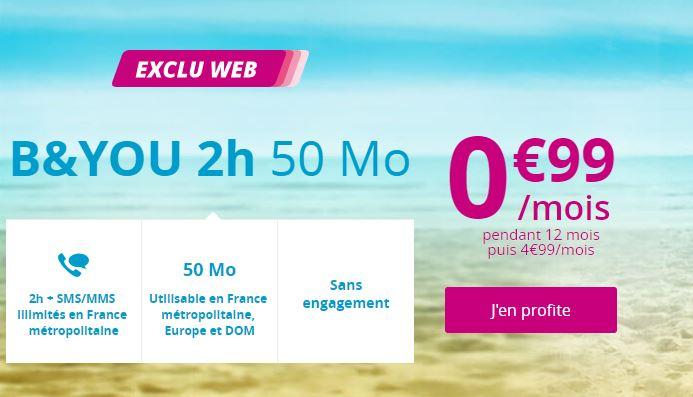 Bouygues Telecom affiche une série spéciale B&YOU 2h 50 Mo à 1 euro !