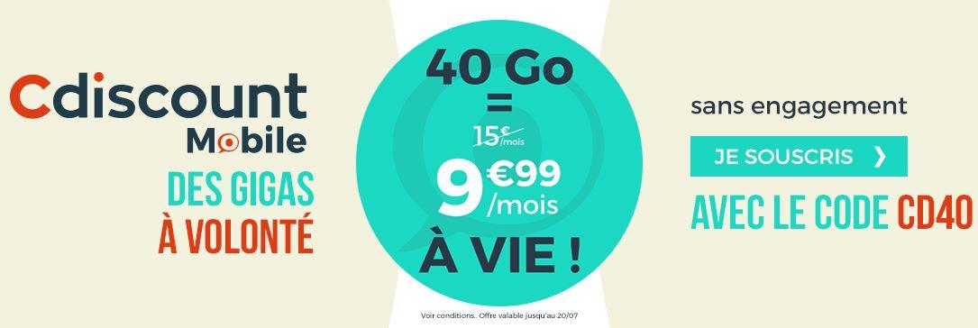 Cdiscount Mobile : un forfait 40 Go à 9.99 euros au lieu de 15 euros !