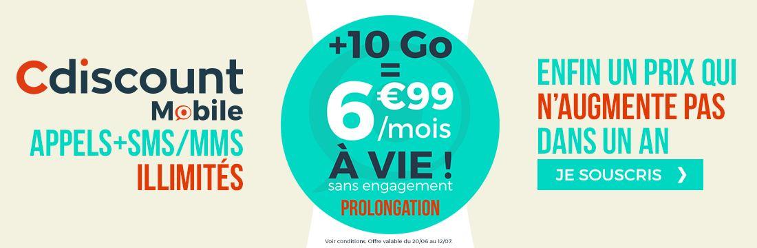 Prolongation du forfait Cdiscount Mobile à 6.99 euros à vie !