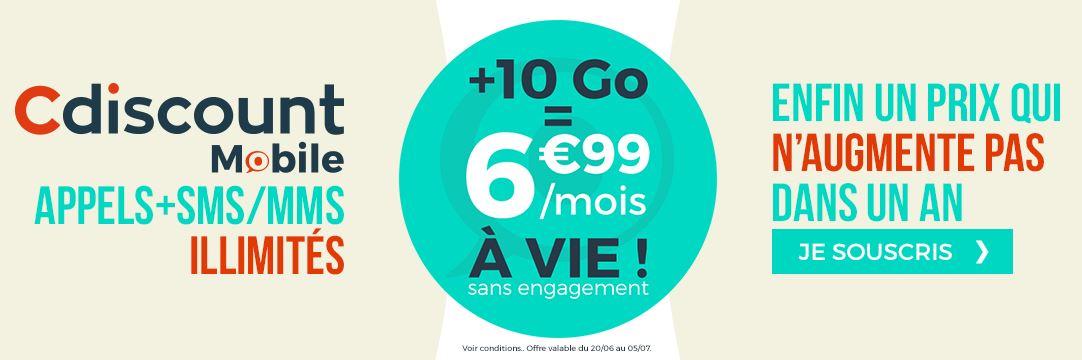 Forfait Cdiscount mobile 10 Go à 6.99 euros : dernier jour pour en profiter !